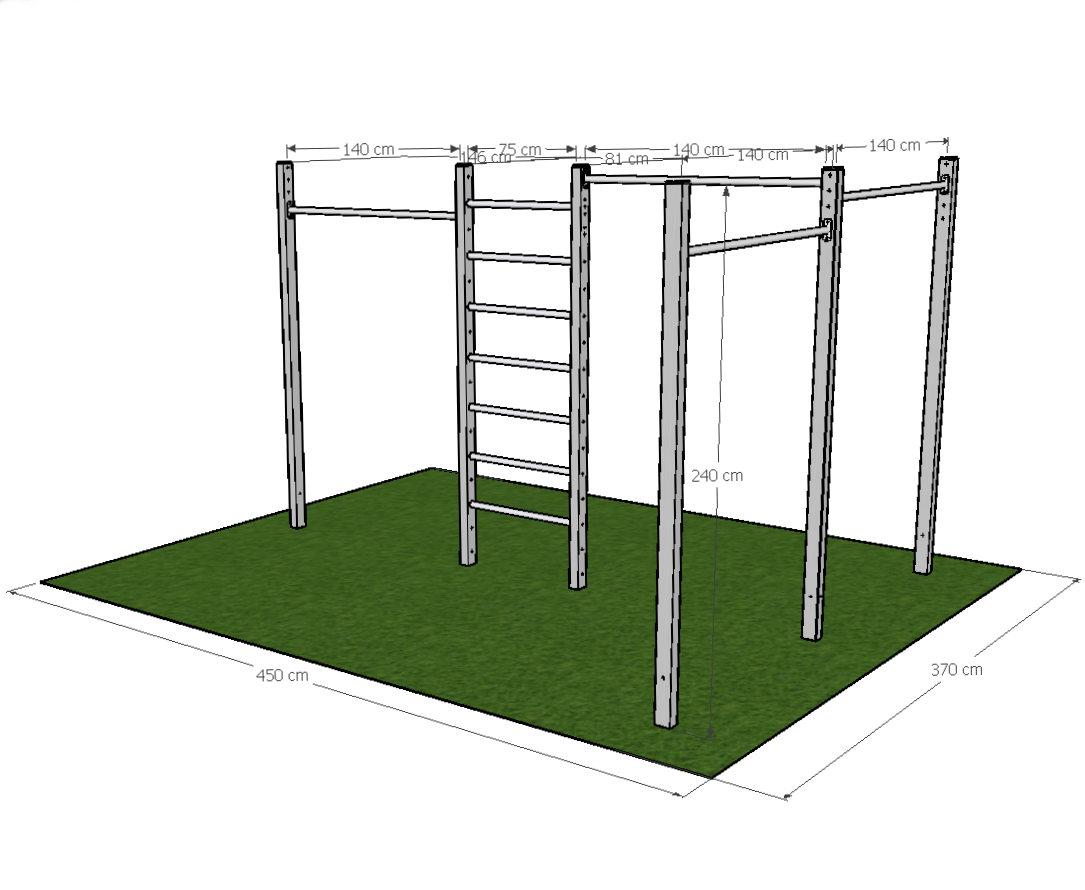 Calisthenics-Outdoor Anlage für ein Fitnessstudio Aussenbereich